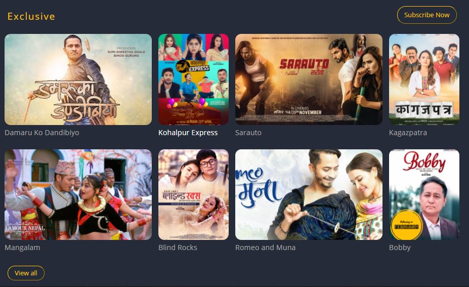 List of all available movies in CinemaGhar