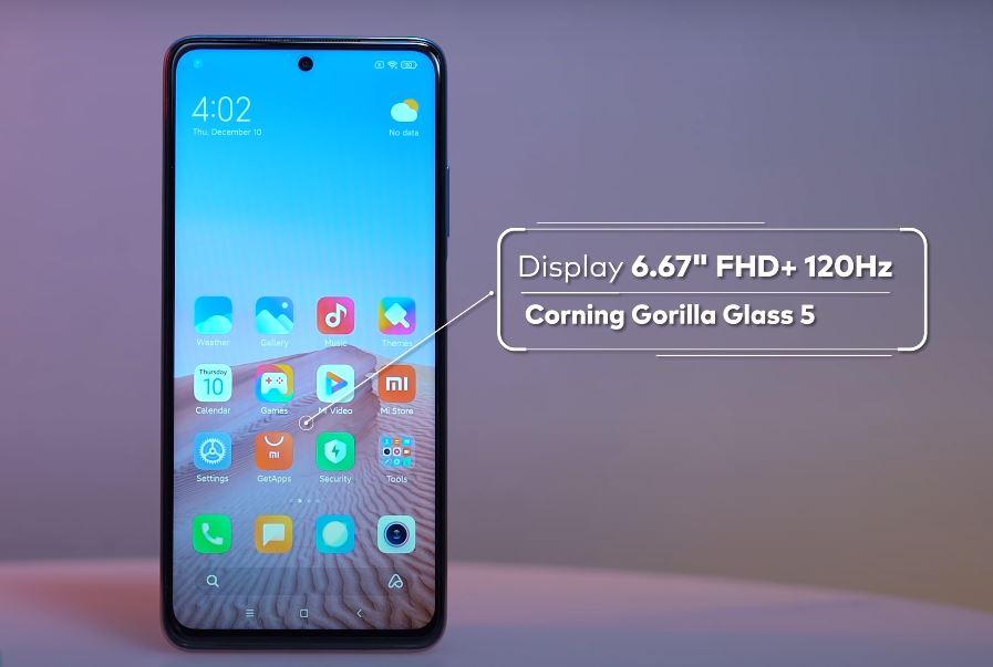 Xiaomi Mi 10i Front screen design and build quality