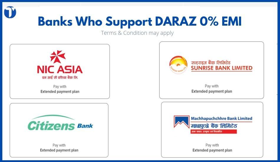 DARAZ 0% EMI Supporting Banks