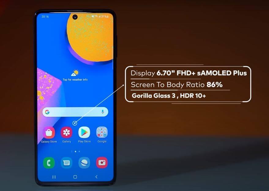 Samsung Galaxy F62 Display