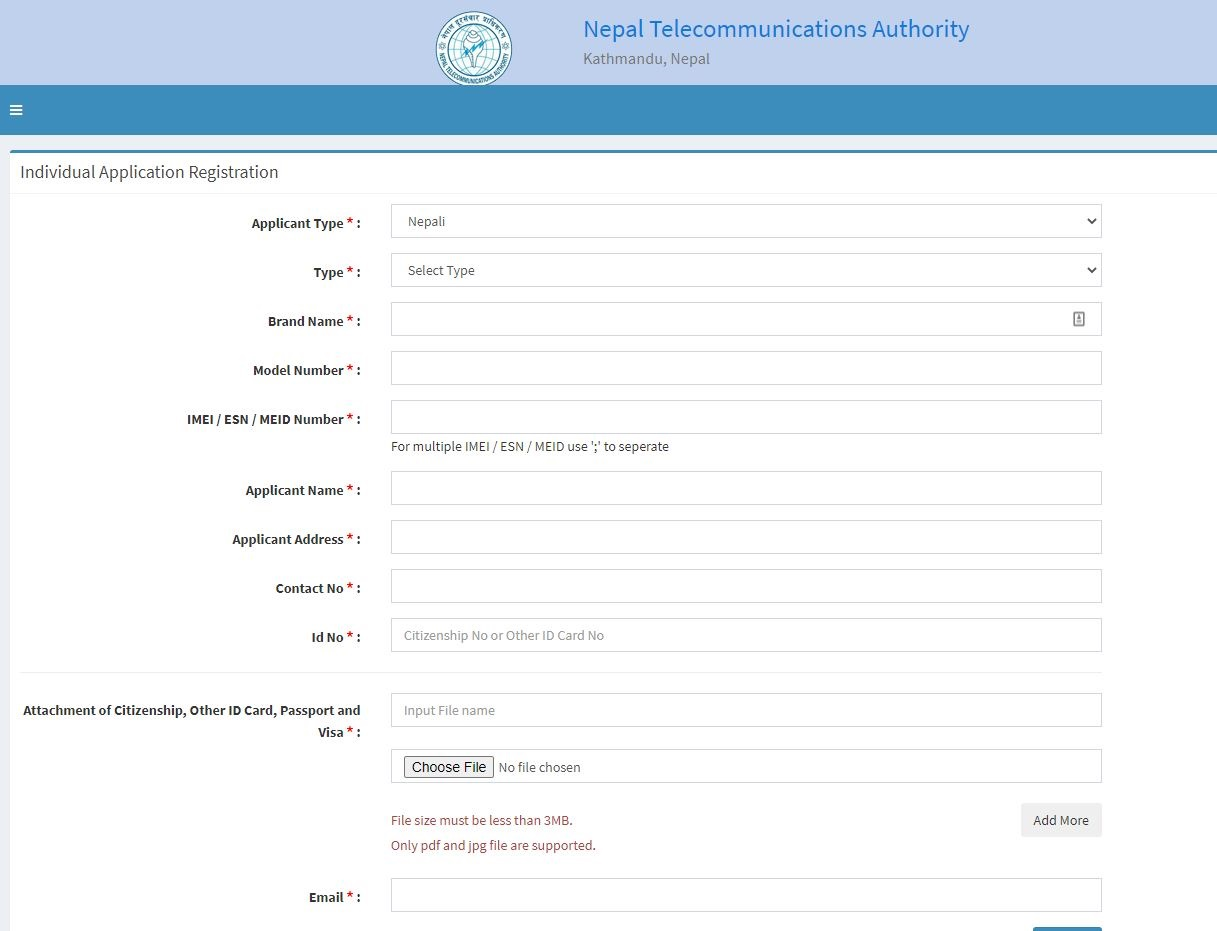 imei registration page