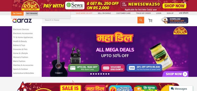 Daraz Shopping Homepage