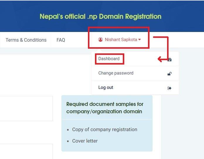 dashboard after registering .com.np domain