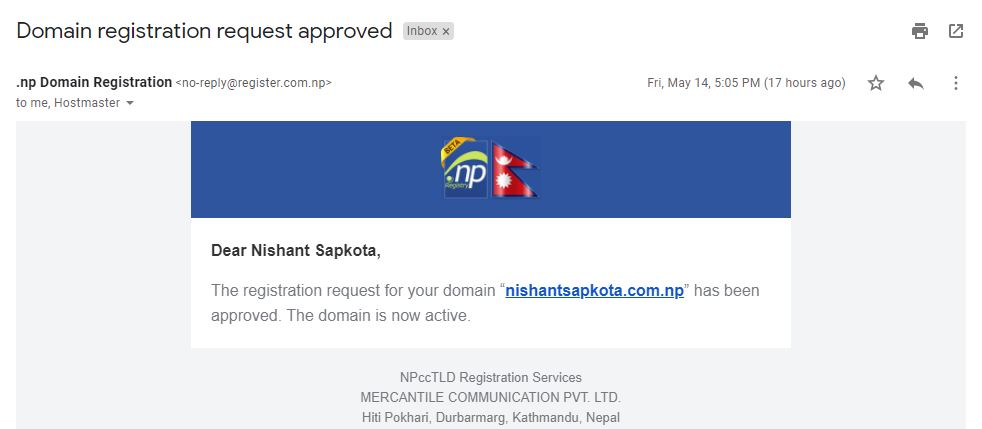 .com.np domain approval email