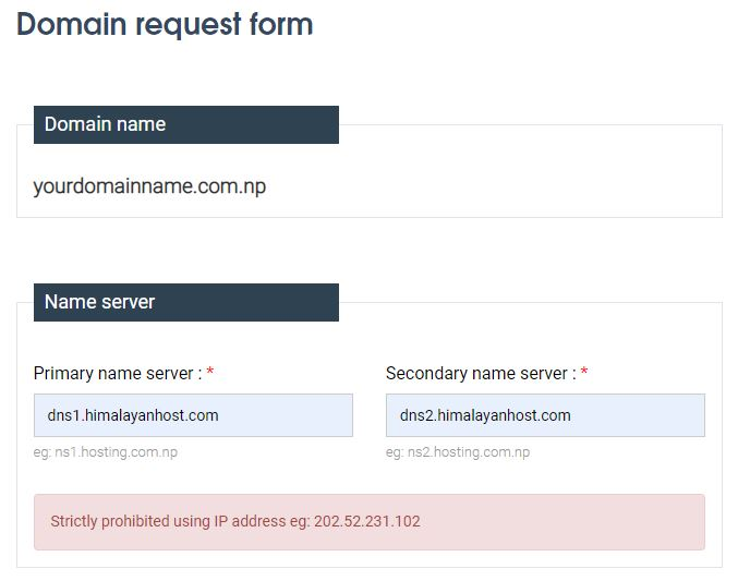 nameserver in .com.np registration