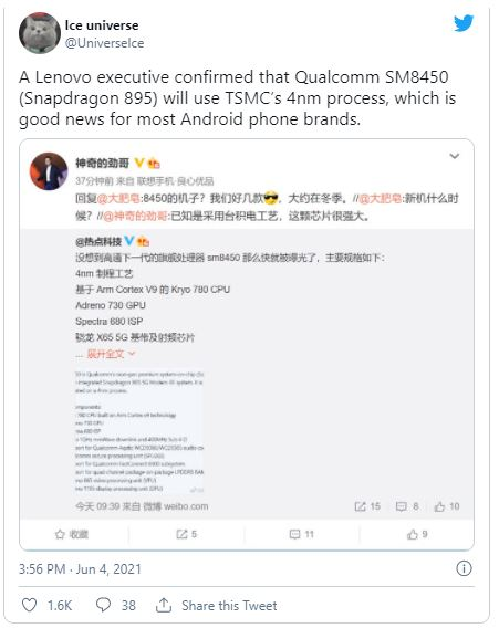 Qualcomm-Snapdragon-895-Ice-Universe-Tweet
